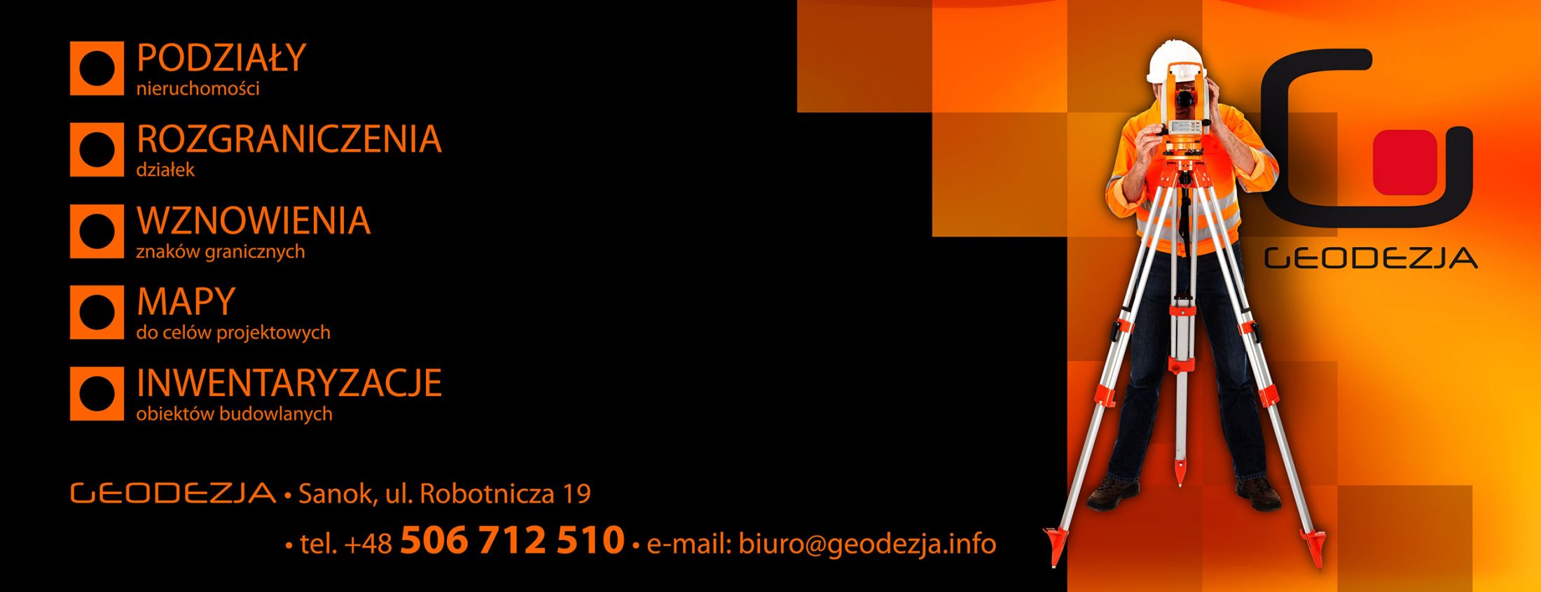 projekt drukowanego baneru reklamowego dla firmy GEODEZJA