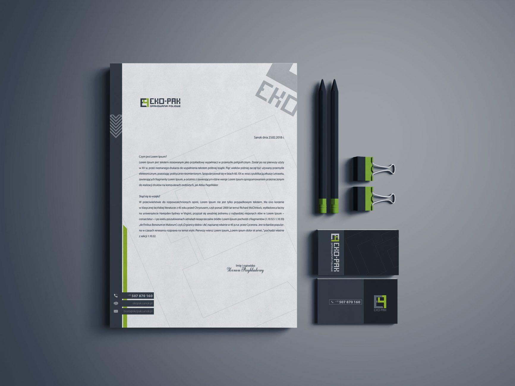 pakiet identyfikacji wizualnej firmy EKO-PAK
