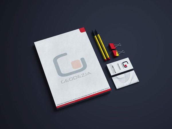 projekty drukowane, identyfikacja wizualna dla firmy GEODEZJA
