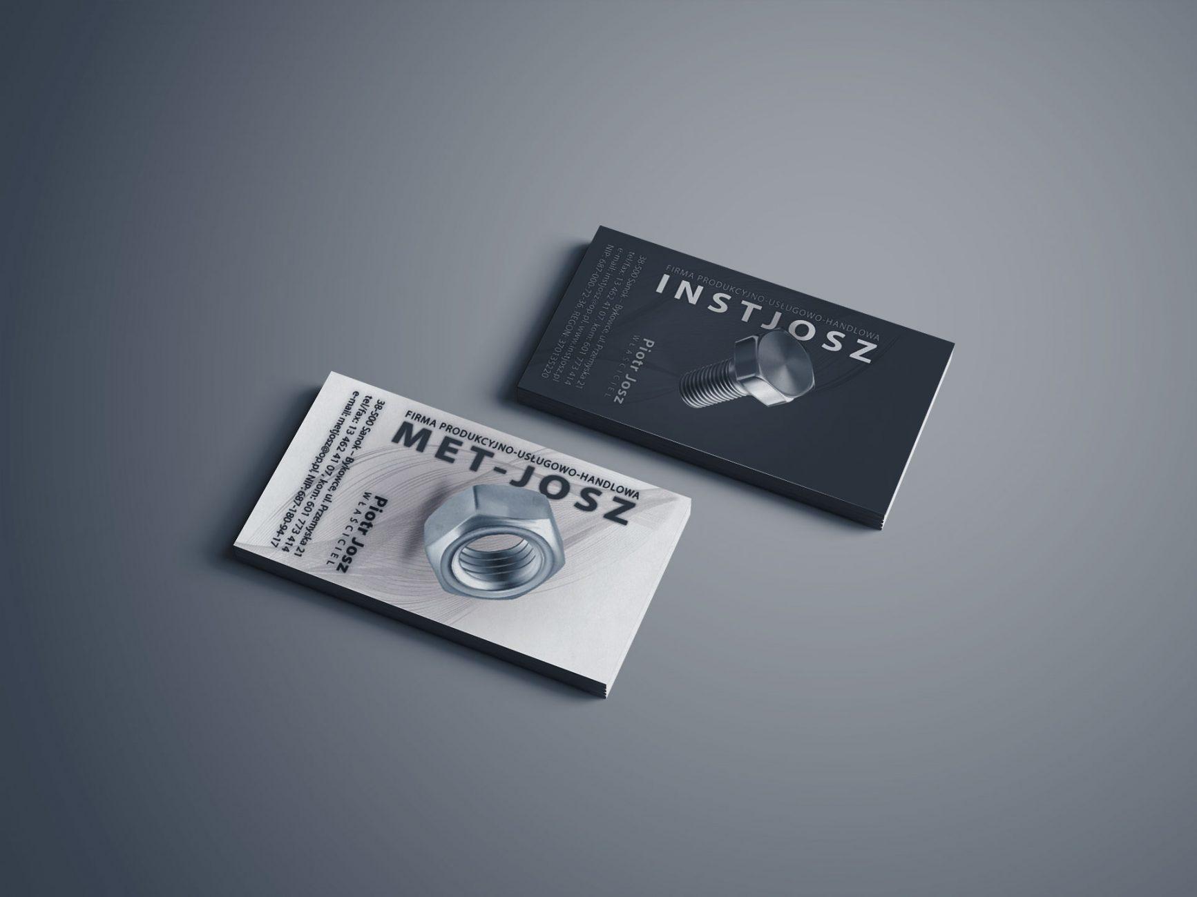 projekt wizytówek dla firm INST-JOSZ oraz MET-JOSZ
