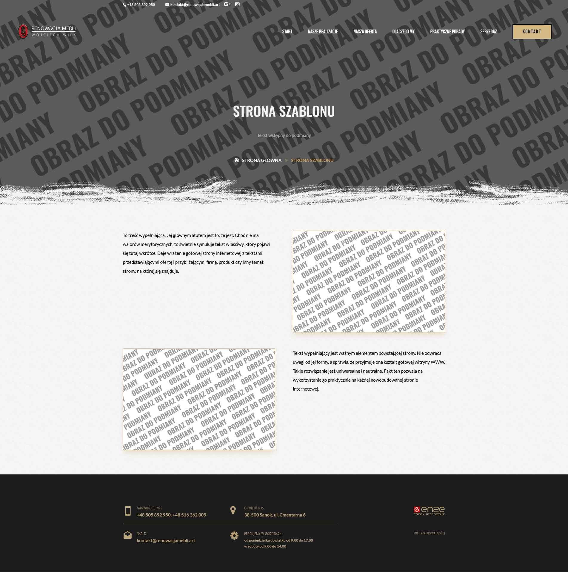 RenowacjaMebli.art, strona internetowa wykonana przez enze.pl